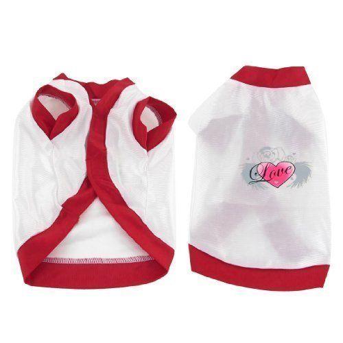 """Aus der Kategorie Shirts, Sweater & Hoodies  gibt es, zum Preis von EUR 6,09  Herz-Muster Hund Yorkie Sommer-Shirt Mantel Haustier Hund Kleidung Weiß Größe S<br/><br/> - Produkt-Name: Hundekleidung; Größe: S (Größe 10)<br/> - Material: Nylon; Ansatz-Gurt: 24cm / 9.4 """"<br/> - Brustumfang: 36 cm / 14,2 """", Länge: 25 cm / 9,8""""<br/> - Dog Weigt: ~ 1,5 kg / £ 3,3; Hauptfarbe: Rot, Weiß<br/> - Gewicht: 33g; Paket-Inhalt: 1 x-Hundehemd<br/>"""