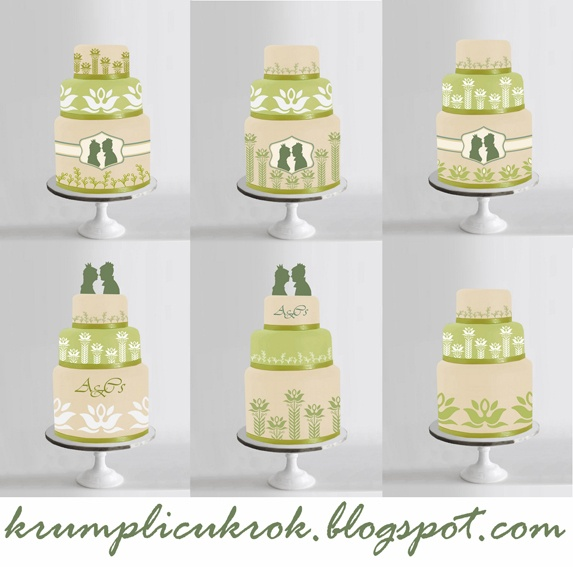 tortatervek zöld fehér tulipános esküvőhöz a meghívó alapján