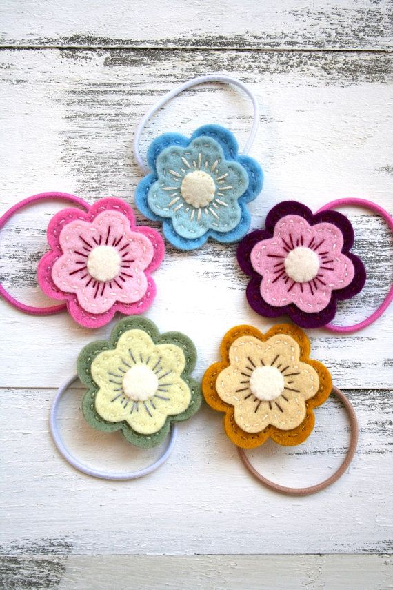 Felt Flower Hair Tie  Pick 1 by SquareLemons on Etsy, $6.00