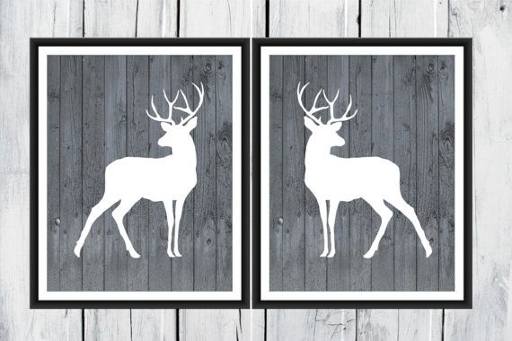 Deer Prints Hunting Lodge Decor Two Piece Set by TheEducatedOwl