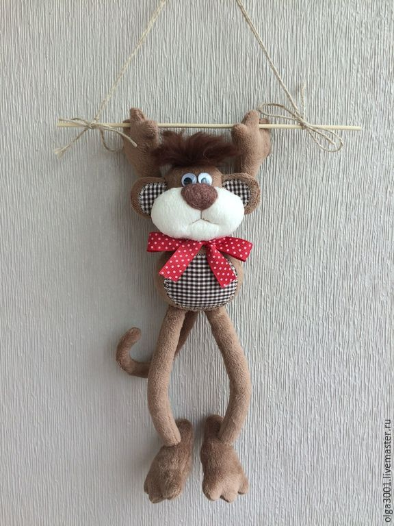 Купить Мартыш Ка - коричневый, мартышка, обезьянка, год обезьяны, хвостик, игрушка в подарок, плюш