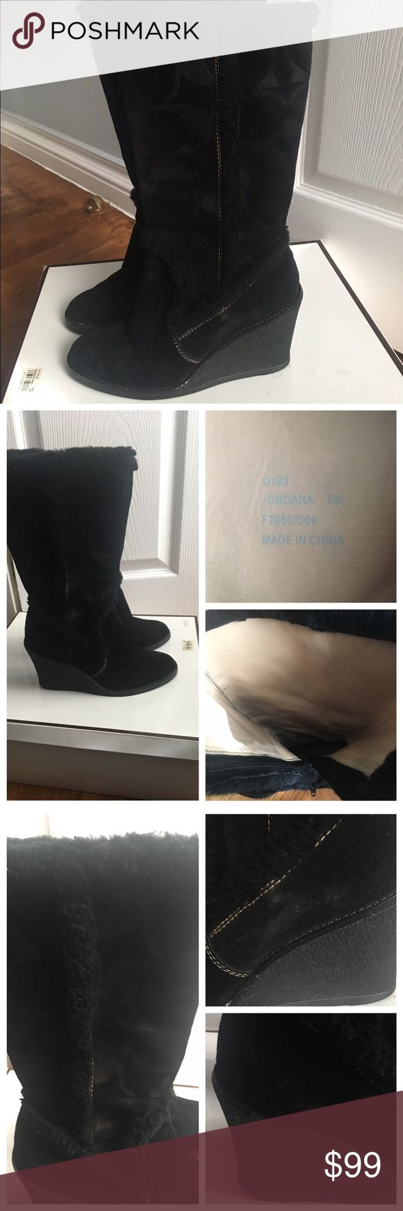 Coach black suede wedge boots Coach black suede boots, this boots are wedges. This item is worn with some signs of wear on the outside (sides). The inside is beige leather the black color rubbed of on it and inside the foot part kinda of worn out but when you wear it doesn't show. Size 6. Bought it from Macy's. Coach Shoes Wedges