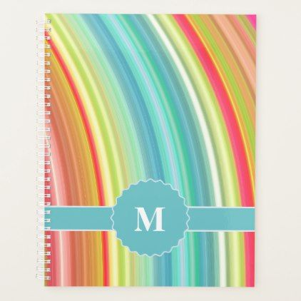 Rainbow Curve with Monogram Planner - monogram gifts unique design style monogrammed diy cyo customize
