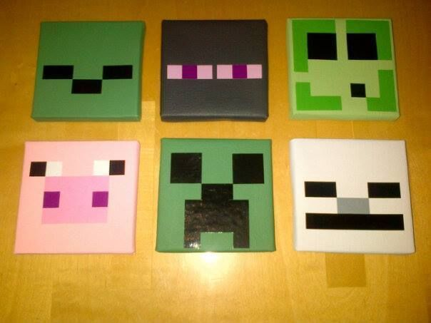 6 MINECRAFT CHILDRENS BEDROOM WALL HANGING CANVAS PICTURES