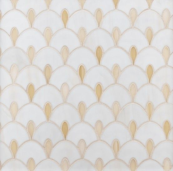 ANN SACKS Chrysalis art deco glass mosaic in off white and transparent light beige