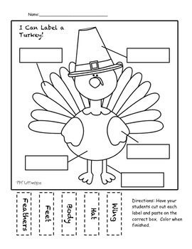 Free Thanksgiving Turkey Labeling Activity Have your students cut out the five labels and paste them on the correct box to label the parts of the turkey. Students can then color the turkey. Great for using initial sounds/decoding skills. Thanksgiving bundle coming soon!