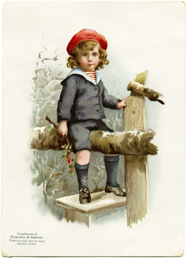 Victorian Boy on Fence ~ Free Graphic