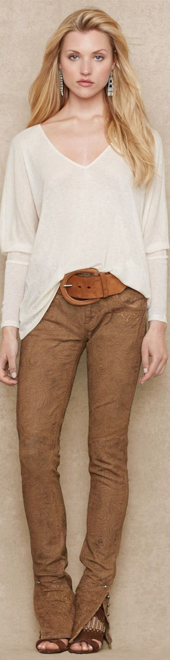 Ralph Lauren Blue Label Draped V-Neck Top and Stretch Leather Pants