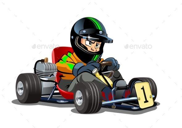 Cartoon Kart Racer Isolated On White Background Cartoon Racer Karting