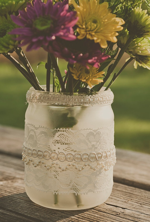 Vintage look lace jars. Vase/candle. Weddings. Ivory/cream, frosted glass.
