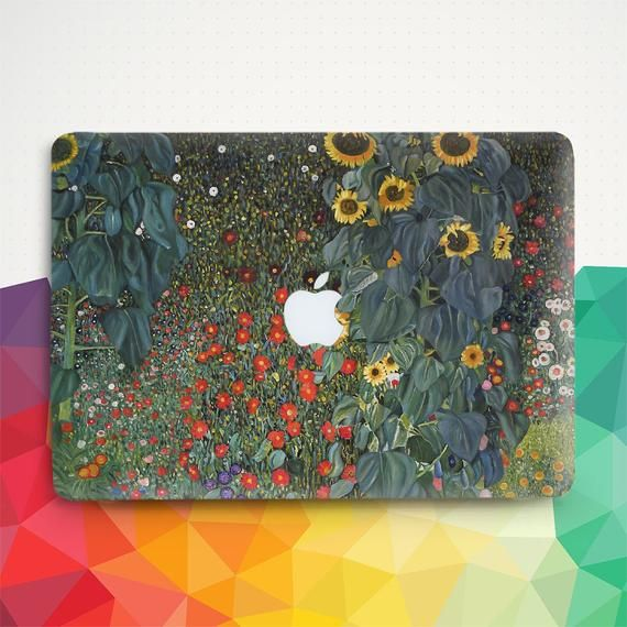 Sunflower Macbook case Vintage Macbook Pro 13 inch Air 13 Pro 15 2019 Macbook 12 Nature Flowers Floral Art Painting Retro Gustav Klimt cover
