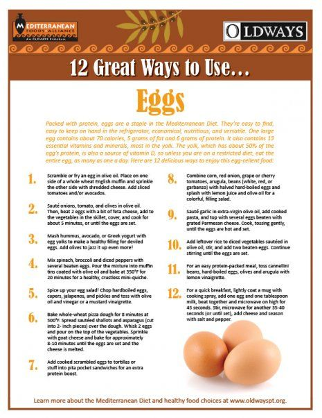 Happy National Egg Day -  packed with protein, eggs are a staple in the Mediterranean Diet.  To celebrate National Egg Day Oldways has 12 Great Ways to Use Eggs!