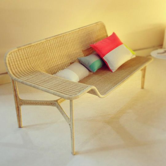 Rattan Lounge by Hiroomi Tahar (neon color block pillows)