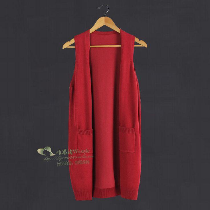 Evalueserve Сямэнь просто мода в Европе и Америке в долгосрочной разделе твердое вязать кардиган без рукавов двойной карман жилета куртку E207- Taobao