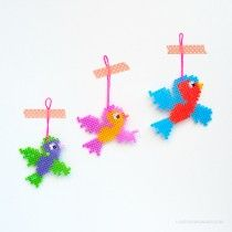 Sweet little birds made by Love from Ginger #hamabeads #perler #hama