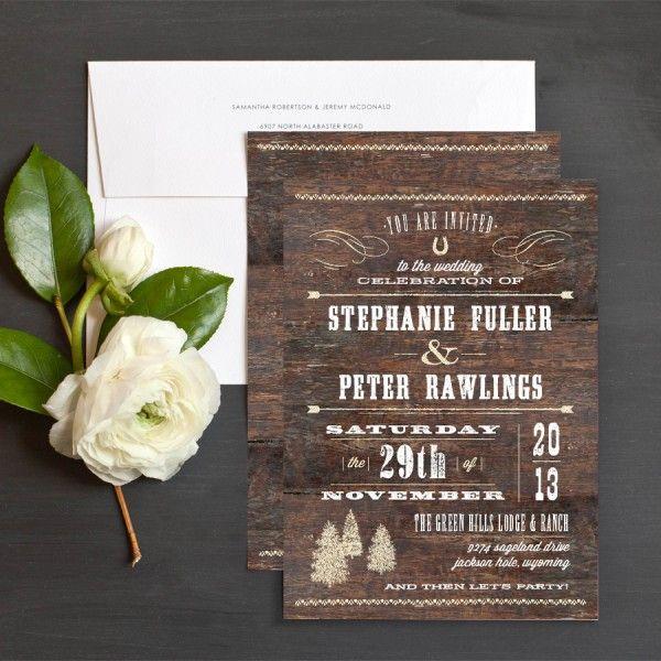 High Quality Print Design White Text On Wood Rustic Barn Wedding Invitation