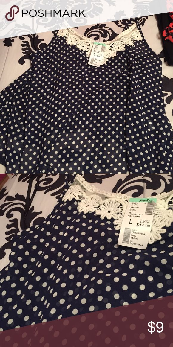 Spaghetti top Blue with white dots, super cute top great for summer! New with tags, price is negotiable Tops Camisoles