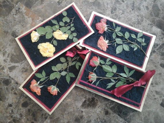 Pressed Roses Set of 4 Blank Cards Made With Black Silk Paper, Golden and Specialty Papers Embellished With Satin Ribbons