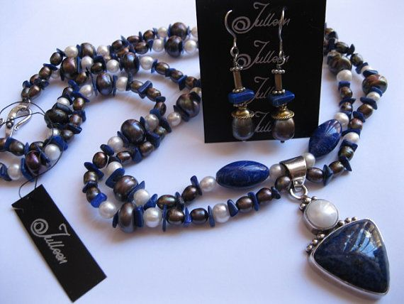 Hallmarked Royal Blue Lapis and Pearl Pendant, on Double Strand of Pearl and Lapis. Necklace SET by Julleen Jewels