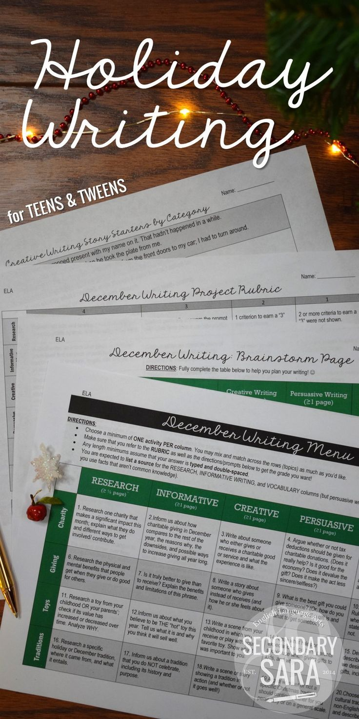 40 Writing Prompts (Research, Persuasive, Informative, Narrative, and Vocabulary) to celebrate the holidays in December! Also includes rubric, brainstorm, and story starters. For middle and high school ELA