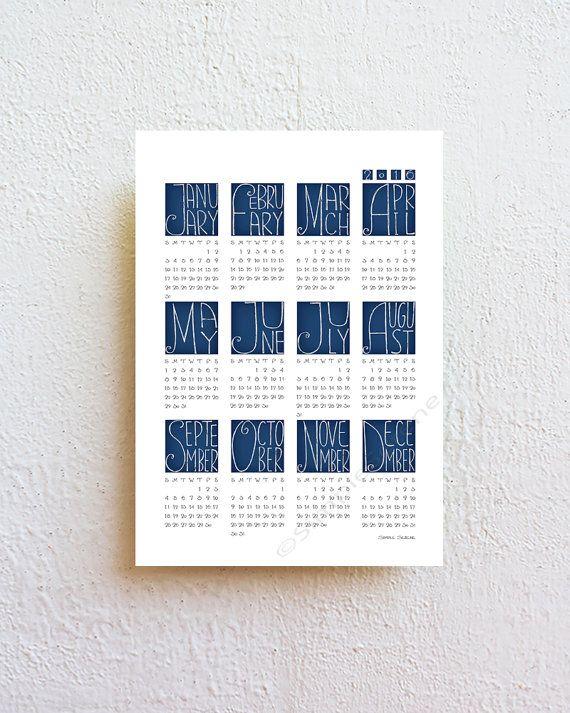 2016 wall calendar geometric calendar hand drawn por SimpleSerene