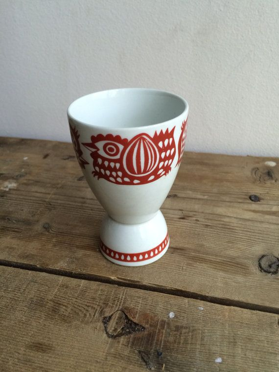 Vintage Mid Century Modern Arabia of Finland Egg Cup Chicken Rooster - Large Red…