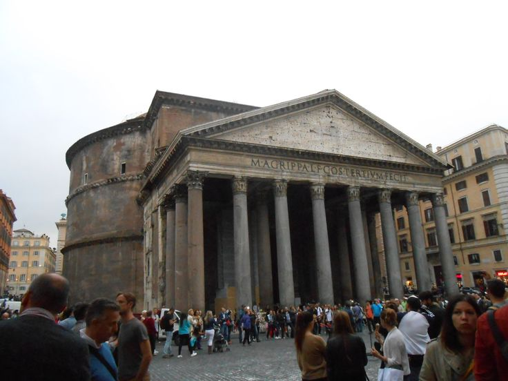 The Pantheon. A maginificent building, with a giant dome on top. It is the largest concrete dome of the world. That was possible because the Roman concrete was stronger than the present concrete.
