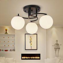 Modern Vintage 3/5 Стеклянный Шар Люстра Светильник E27 Лампа Американский Деревня Металла Вися Свет Спальня Гостиная Освещение C248