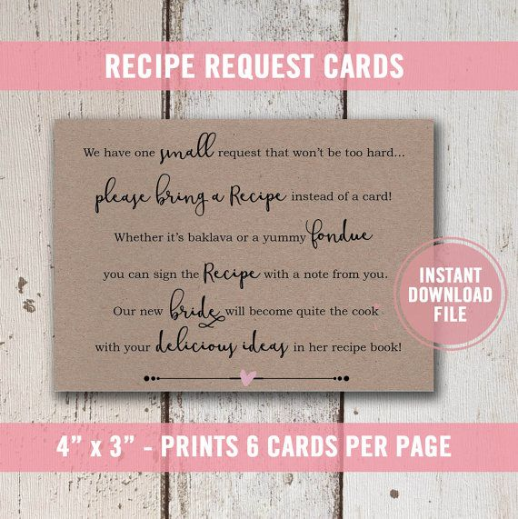 recipe card instructions for bridal shower