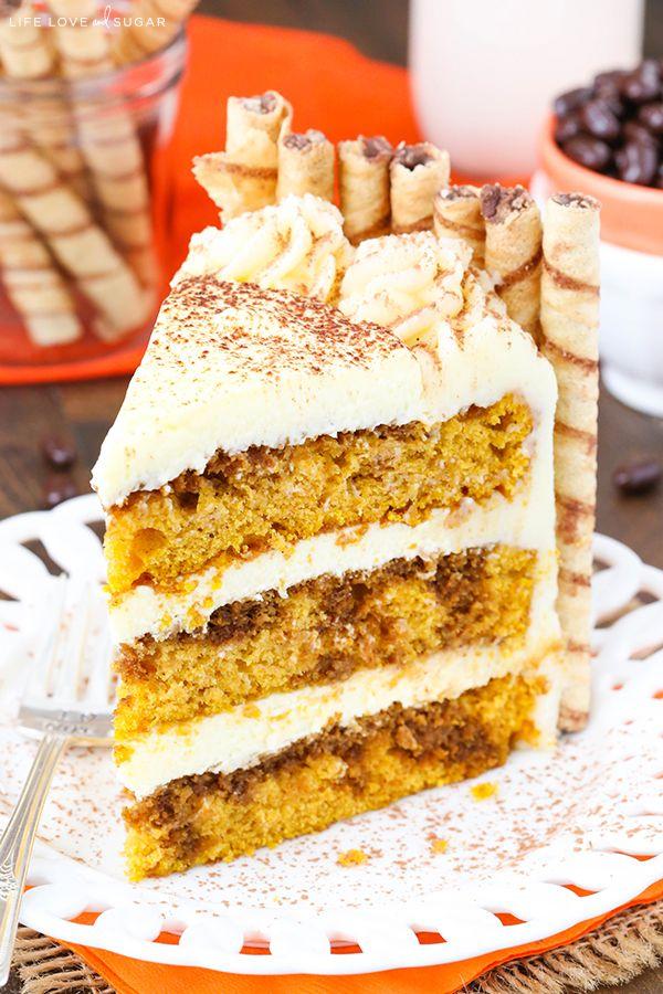 Pumpkin Tiramisu Layer Cake - pumpkin cake, kahlua and espresso, tiramisu filling and mascarpone frosting!