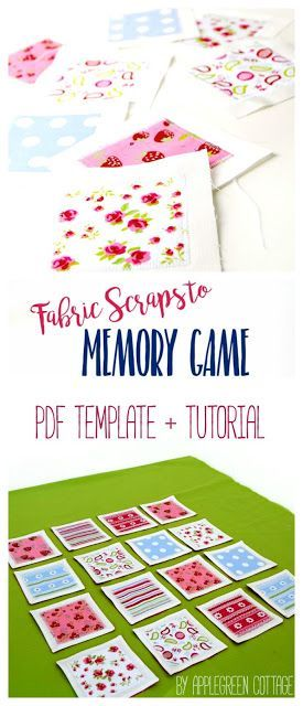 Fabric Memory Game tutorial and free pdf template. Matching scraps can be easily turned into a cute set of fabric cards for a memory game. A great DIY birthday present for children and adults alike! And these pieces can even double as coasters! They are t