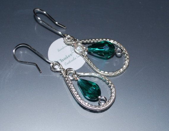 Wire Wrapped Earrings Dangle Earrings Green Earrings by choice4all