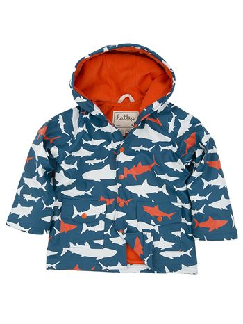 Hatley Lots Of Sharks Lined Raincoat available at www.tinysoles.com! #TinySoles
