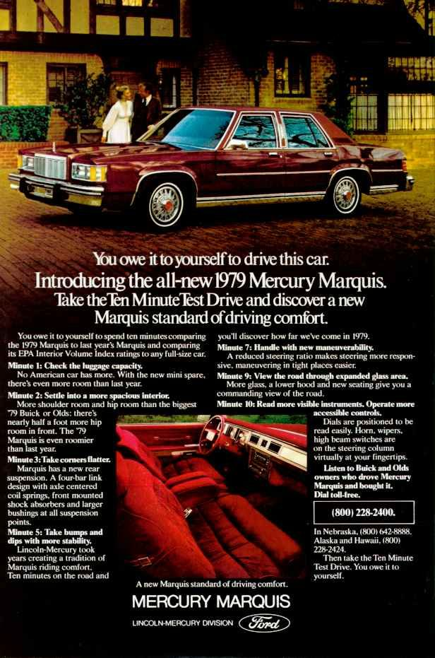 The 1979 Mercury Marquis was an entirely new car from the tires to the roof. Downsized dramatically, it would ride this basic chassis and undergo only one major restyle for the rest of its lifecycle.