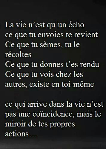 Mirroir de tes actions - la vie