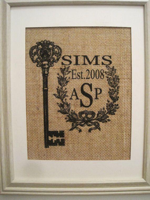 new home giftpersonalized burlapburlap printburlap by sunbeamsigns 2100 monogram wedding giftsburlap