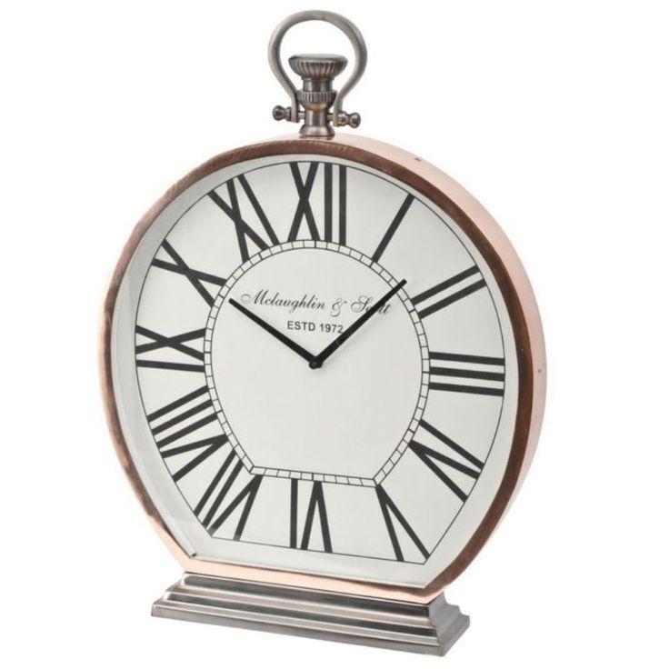 Charleston Copper Round Mantel Clock - Large