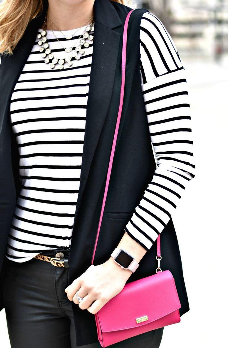 Business Casual Trendy - longline blazer vest + leather pants + jeaopard + pink kate spade crossbody wallet - the professionalprep.com