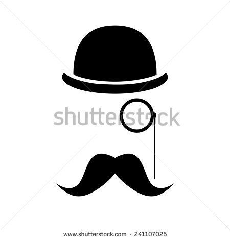 abstract vector hipster silhouette with bowler hat, monocle, mustache