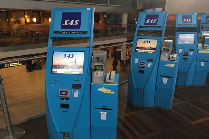 SAS self check-in kiosks at Copenhagen Airport.