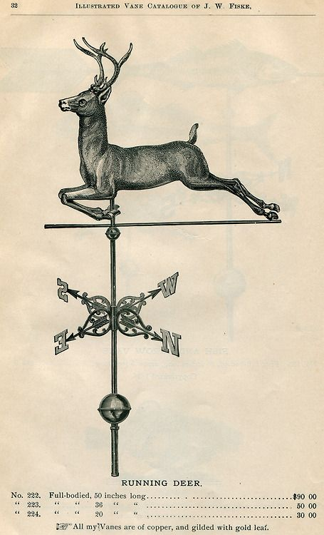 Running Deer from J.W. Fiske Illustrated Copper Weathervane Catalog and Price List, 1893