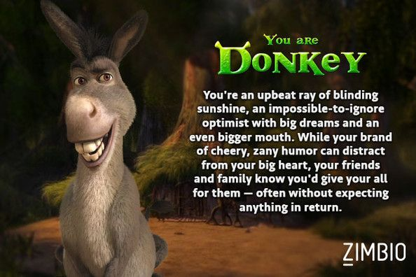 I took Zimbio's 'Shrek' quiz and I'm Donkey! Who are you? #ZimbioQuiz