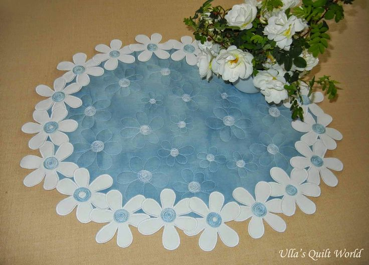 Flower tablecloth quilt - daisies, tutorial - Ullas Quilt World