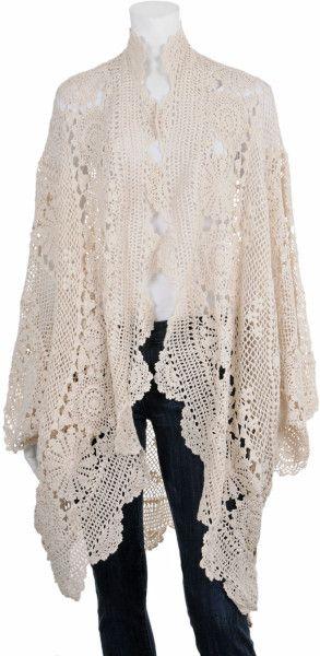 Mes Demoiselles Cozy Crochet Sweater in White (ivory)