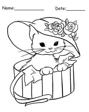 give a like for this adorable kitten in a hat animal printable coloring pages - Coloring Pages Kittens Print