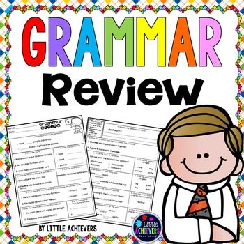 This packet of Grammar Review Worksheets consists of 10 sets of language review printables to practice and assess grammar skills. The skills included in this packet are sentence, subject & predicate, types of sentences, sentence editing, noun, plural form, common and proper noun, rhyming word, pronoun, action verb, linking verb, contractions, synonyms, antonyms, prefix & suffix, adjective, and the possessive form of noun.