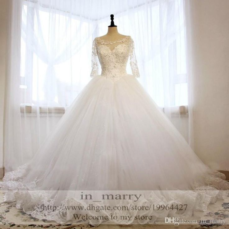Real Images Ball Gown Crystal Wedding Dresses 2016 Illusion 3/4 Long Sleeves Lace Appliqued Princess Sexy Back Victorian Bridal Gowns Arabic Wedding Dresses A Line Wedding Dresses 2015 Wedding Dresses Online with $257.15/Piece on In_marry's Store | DHgate.com