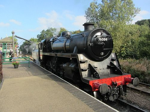 Steam Engine 76084 on the Poppy Line, North Norfolk Railway. This is at Holt Station.