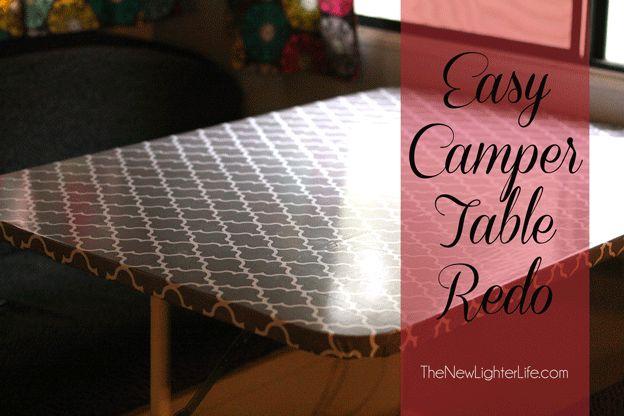 Easy DIY Camper Table Remodel.  Hobby lobby fabric