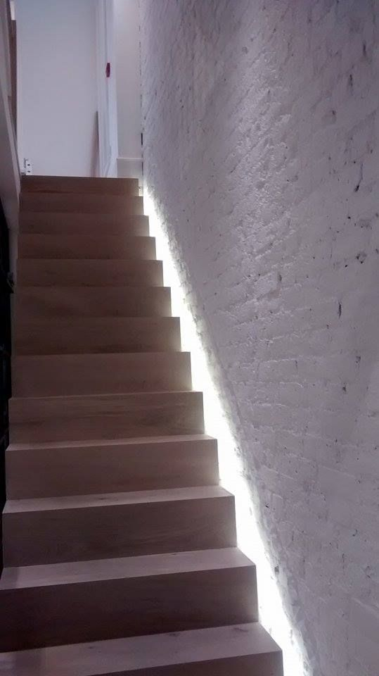 Stylish Shabby Chic side lit stairs located in refurbished London boutique store. Cleaned and ready to open #shabbychic #sidelitstairs #londonboutique